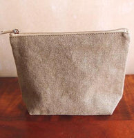 "10"" Washed Canvas Large Makeup Bag, Pouch Purse Cosmetic Organizer"