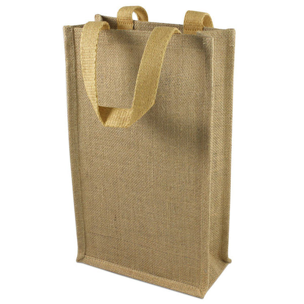 wholesale (2 Bottles) Natural Jute Wine Tote With Dividers in bulk
