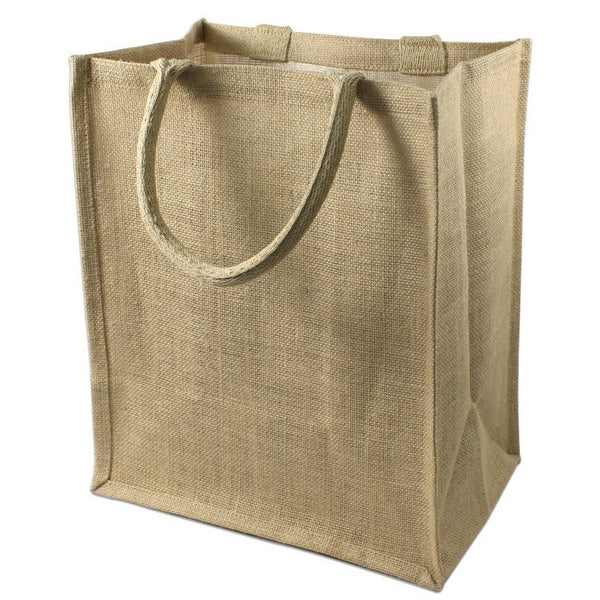 (6 Bottles) Natural Jute Wine Tote With Dividers