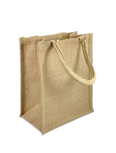 Set of 12 Small Size Burlap Jute Tote Bags in Bulk BB01B