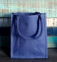 cheap wholesale Small Size Burlap Jute Tote Bags, Blue Color Natural Rustic Gift Bag, BBS01