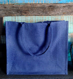 Large Size Burlap Jute Tote Bags, Shopping Grocery, Blue Color BBL01
