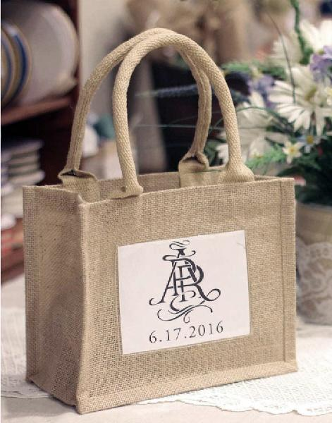 Mini Size Burlap Jute Tote Bags with Front Window