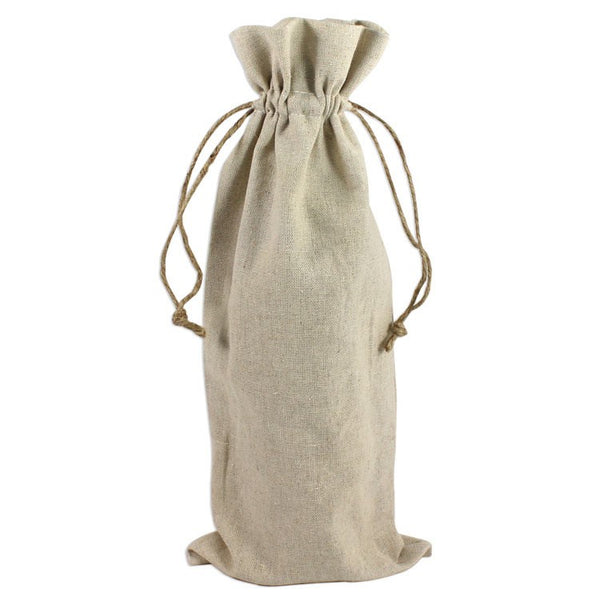 (12 Eco Pack) Natural Linen Wine Bags