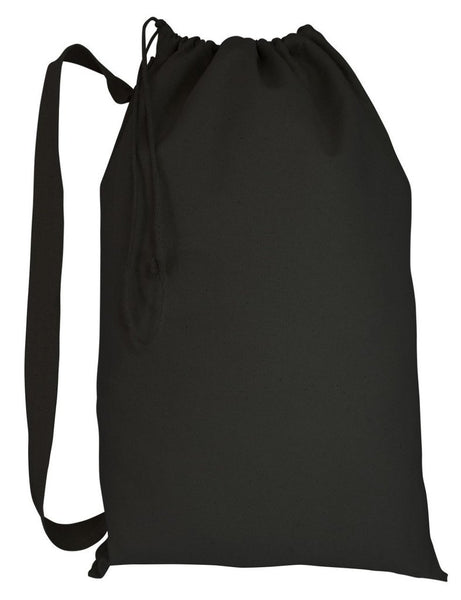 Black Color Canvas Laundry Bag with Shoulder Strap Handle, Small Size