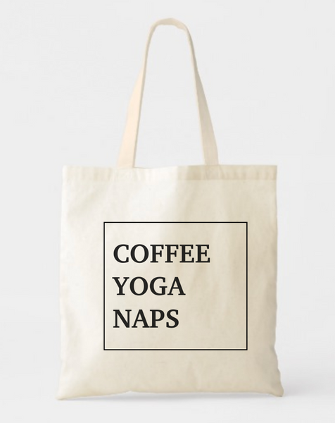 Coffee Yoga Naps Canvas Cotton Tote Bag