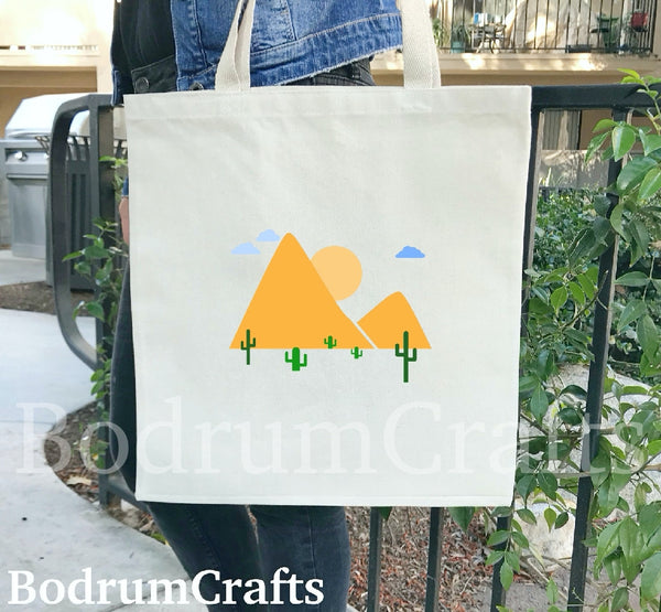 Cactus Plant Canvas Tote Bags, Texas Design Cotton Totes, Gift, Reusable Grocery Bags, Cactus Gift Totes for Women, Women's Gift