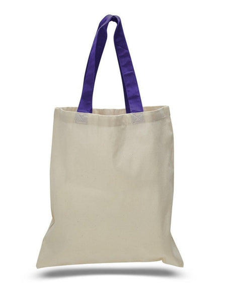 Color Handles Cotton Tote Bags, Eco-Friendly Cheap Totes