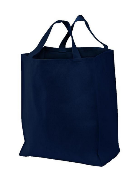 Heavy Duty Canvas Grocery Tote Bags with Short Handles, Navy Color