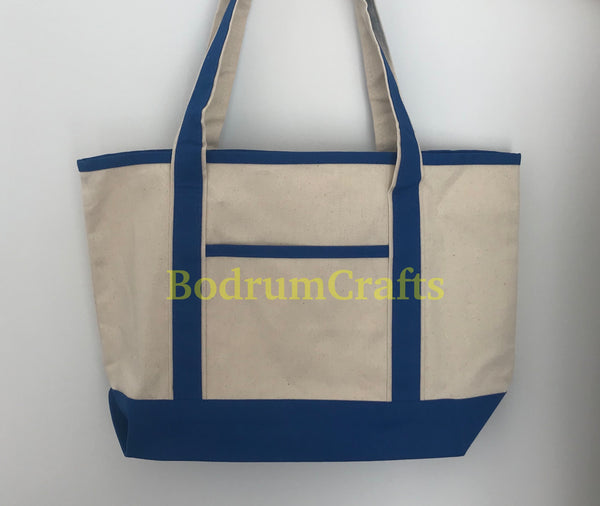 Wholesale Deluxe Heavy Duty Canvas Leisure Shoulder Tote Bags, Boat Totes in Bulk