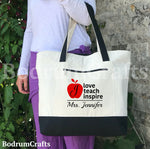 Teacher Canvas Tote Bags, Personalized Custom Teacher Totes, Teacher Gift, Book Bag, Best Teacher Ever