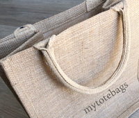 wedding bridal gift, Medium Size Burlap Jute Tote Bags