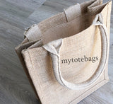 Small Size Burlap Jute Tote Bags, Blue Color Natural Rustic Gift Bag, BBS02