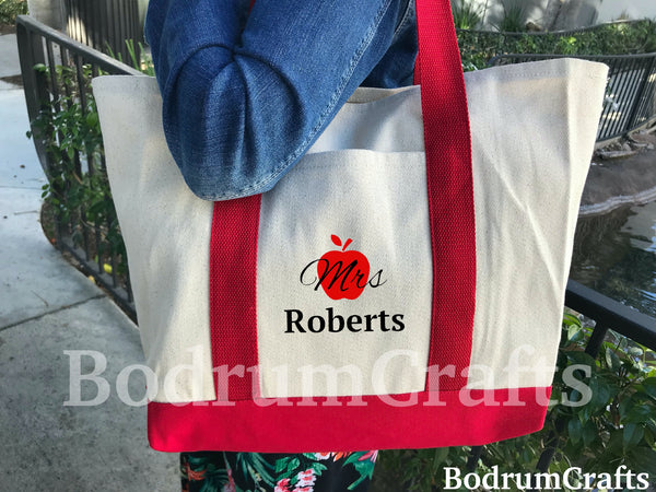 Teacher Tote Bags, Custom Name Canvas Tote Bag, Custom Print Teacher Gift, Teacher Bags and Totes, Personalized Teacher Appreciation Gifts