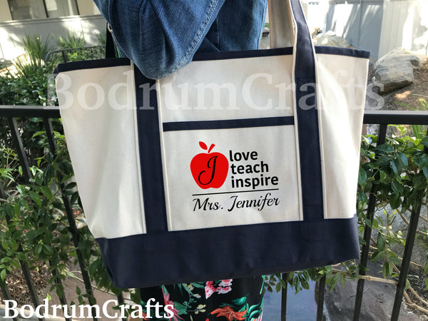 Teacher Canvas Tote Bags Personalized, Apple Logo