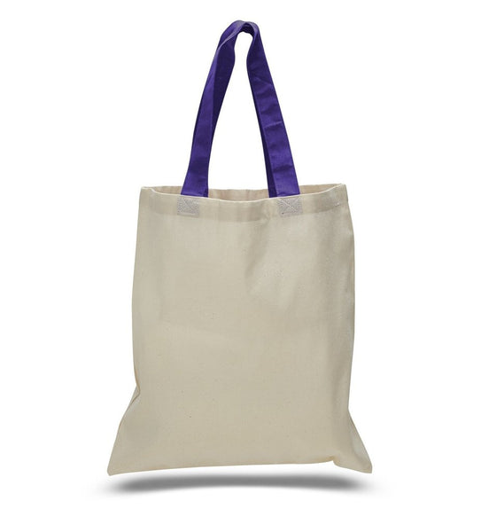 "Color Handles Cotton Tote Bags, Flat, TBC01 (15"" x 16"")"