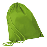 Lime green wholesale Economy Polyester Sports Drawstring Backpack, Medium Size