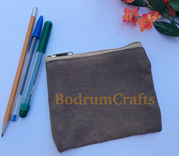 Washed Canvas Zipper Pouch Bags, Small Makeup Organization Bags Wholesale Bulk