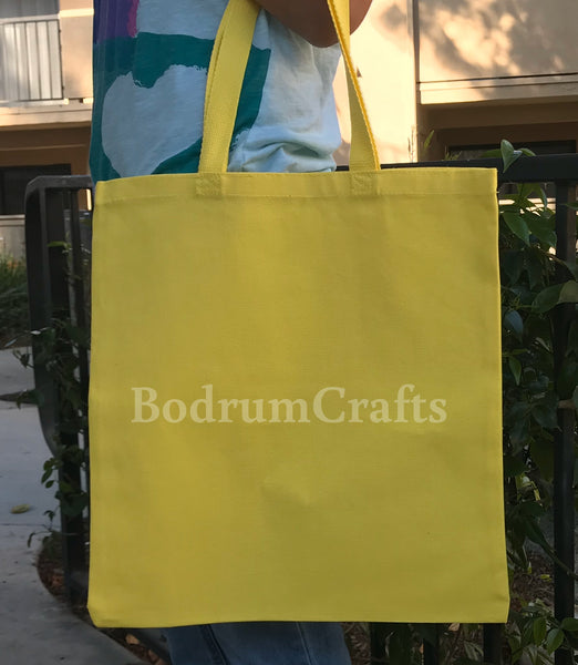 Yellow Color Heavy Duty Canvas Tote Bags in Bulk, Shipping Grocery Totes Wholesale