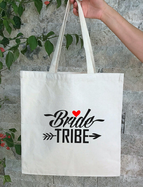 Personalized Wedding Canvas Gift Tote Bags, Bride Tribe, Bridesmaid Gift Bags, PWB17