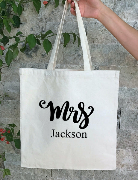 Personalized Wedding Canvas Gift Tote Bags,Mrs Bride, Bridesmaid Gift Bags, PWB18