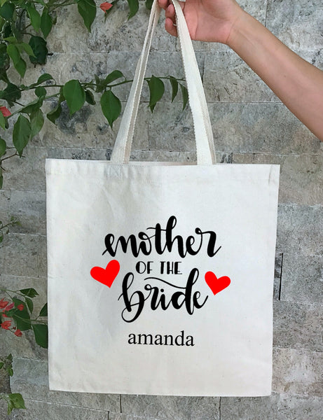 Personalized Wedding Canvas Gift Tote Bags, Mother of the Bride, Bridesmaid Gift Bags, PWB19