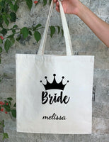 Personalized Wedding Canvas Gift Tote Bags, Mother of the Bride, Bridesmaid Gift Bags, PWB20