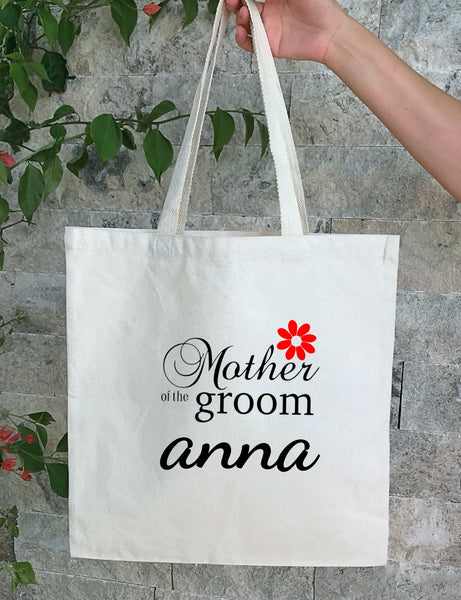 Personalized Wedding Canvas Gift Tote Bags, Custom Bridal Bags, Mother of the Groom, PWB21