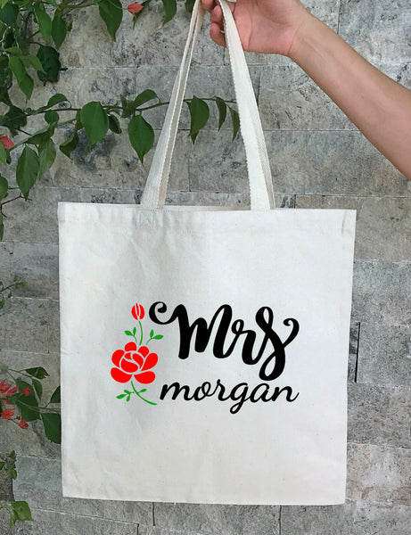Personalized Wedding Canvas Gift Tote Bags, Custom Bride Bags, PWB23
