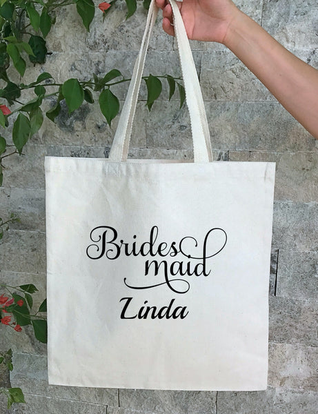 Personalized Wedding Canvas Gift Tote Bags, Bride, Bridesmaid Gift Bags
