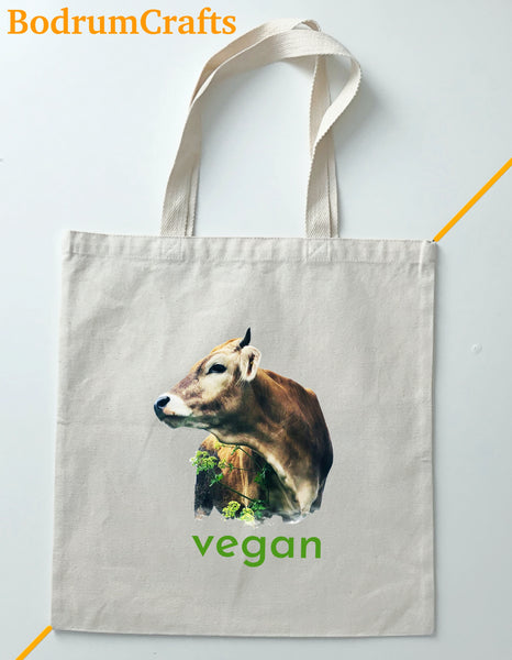 Vegan Canvas Tote Bags Art, Custom Gifts Totes for Women, Vegan Vibes Design Print Bag Gifts, Green Life, Save Cows and Earth, Plastic Free