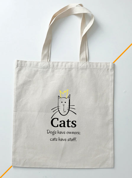 Cat Design Printed Canvas Tote Bags BodrumCrafts