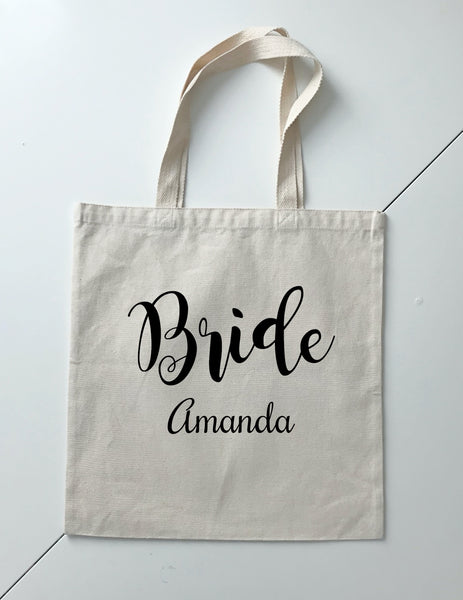 Personalized Wedding Canvas Gift Tote Bags, Bride, Bridesmaid Gift Bags, PWB07