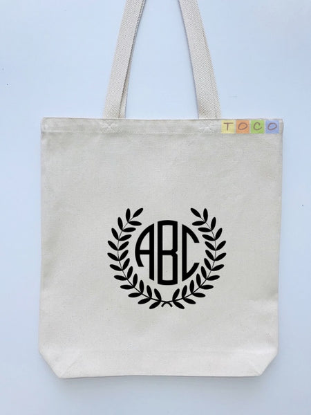 Monogrammed Canvas Gift Tote Bags