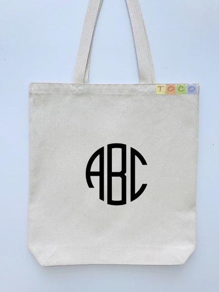 Monogrammed Canvas cotton tote bags