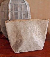 "10"" Jute Fabric Zipper Pouch Bags with Gusset"
