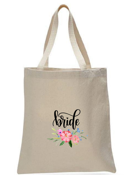 Wedding Canvas Gift Tote Bags, Party Gifts, Bride, WB50