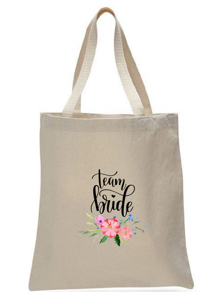 Wedding Canvas Gift Tote Bags, Party Gifts, Team Bride, WB51