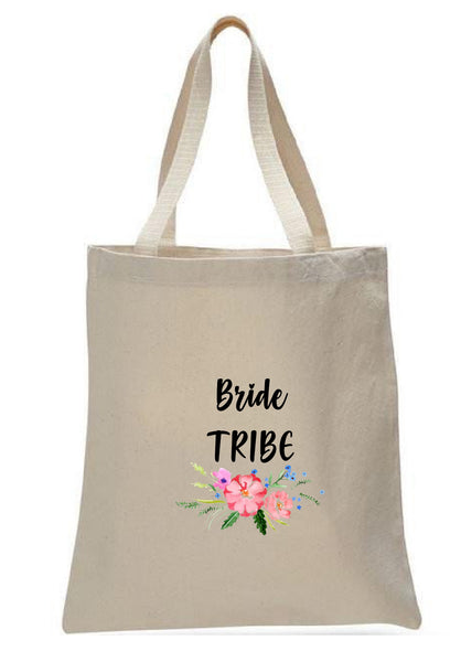 Wedding Canvas Gift Tote Bags, Party Gifts, Bride Tribe, WB43