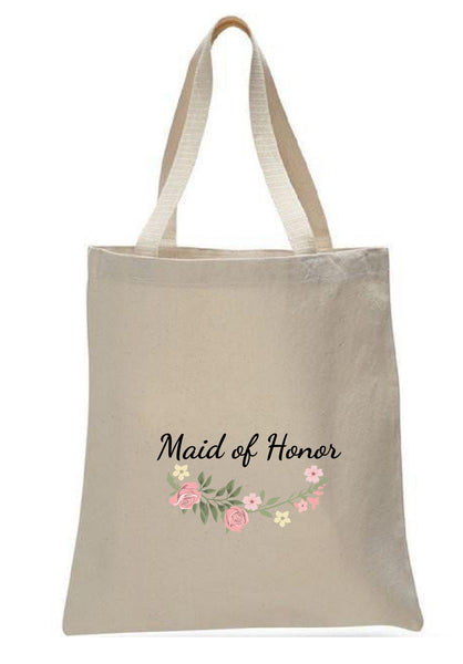 Wedding Canvas Gift Tote Bags, Party Gifts, Maid of Honor, WB35