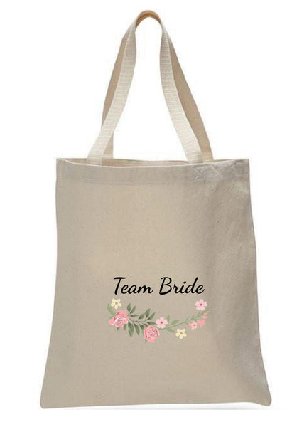 Wedding Canvas Gift Tote Bags, Party Gifts, Team Bride, WB37