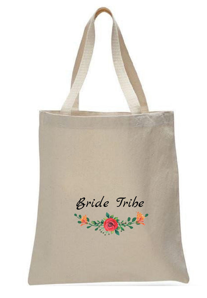 Wedding Canvas Gift Tote Bags, Party Gifts, Bride Tribe, WB48