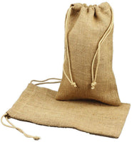 (48 Eco Pack) Burlap Gift Pouch Bags, Natural Jute Bags with Drawstring
