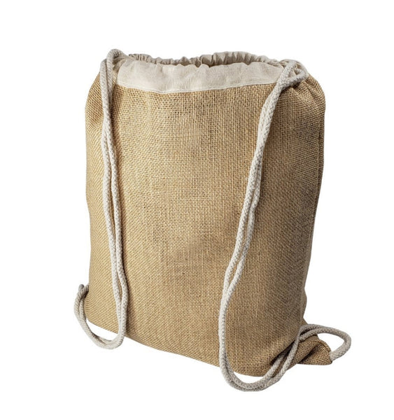wholesale Natural Burlap Jute Drawstring Backpacks