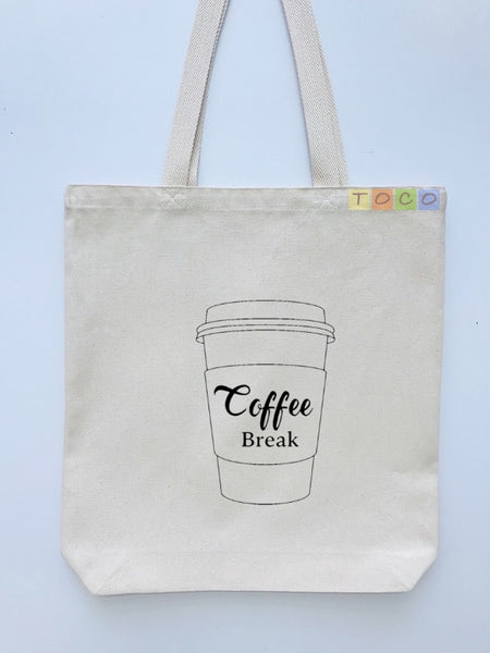 Coffee Cup Design Canvas Tote Bags, Coffee Break