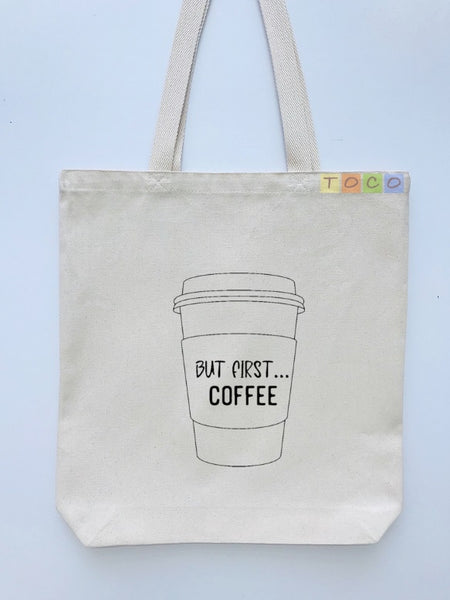 Coffee Cup Design Canvas Tote Bags, But First Coffee
