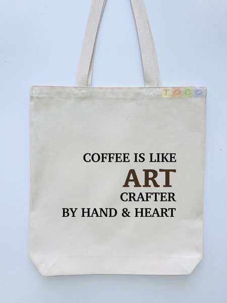Coffee Crafted Canvas Tote Bag