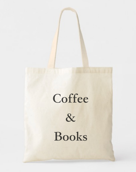 JUST COFFEE & BOOKS LOVER CANVAS TOTE BAG
