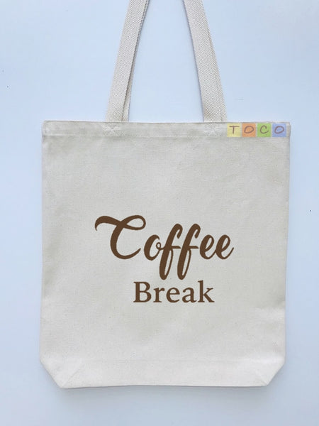 Coffee Break Design Canvas Tote Bag, Brown Color
