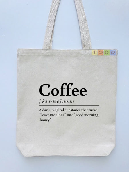 Coffee Definition Design Canvas Tote Bags